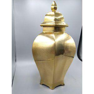 Ethan Allen Lidded Hexagon Brass Urn, Large Temple